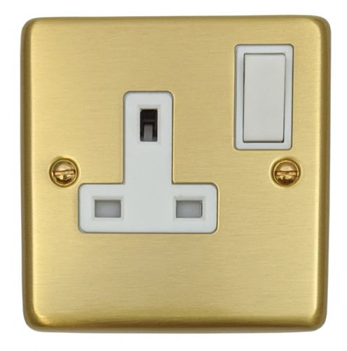 G&H CSB9W Standard Plate Satin Brushed Brass 1 Gang Single 13A Switched Plug Socket